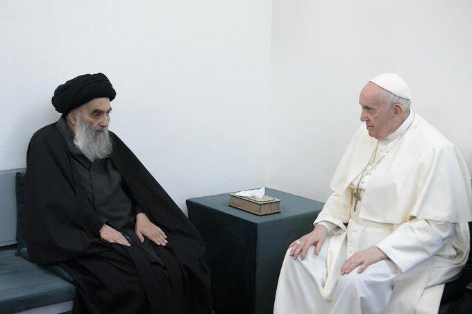 تاکید بر دوستی بین مذاهب جهان؛ محور ملاقات پاپ با آیتالله سیستانی