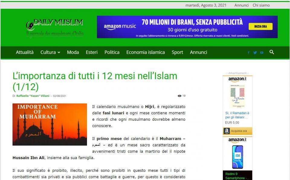 يك روزنامه ایتالیایی: قداست ماه محرم برگرفته از واقعه عاشورای حسینی در کربلاست