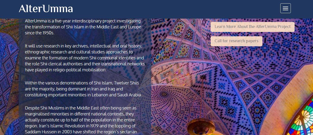 پروژه پژوهشي تحولات اسلام شیعی در خاورمیانه و اروپا در 70 سال اخير توسط اتحاديه اروپا